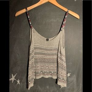 Cropped Grey Patterned Tank w/ Detailed Straps
